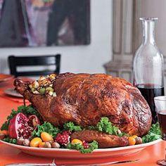 Roasted Turkey Stuffed with Hazelnut Dressing | MyRecipes.com