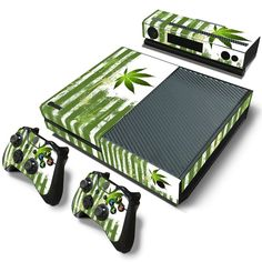 Green Weed Leaves Skin for XBox One Console and Two Controllers Decals //Price: $8.99 & FREE Shipping //     #cannalovers