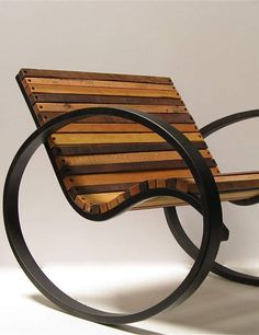 Pant Rocker, a modern take on the traditional rocking chair by Shiner International Art Furniture, Upcycled Furniture, Unique Furniture, Industrial Furniture, Furniture Design, Outdoor Furniture, Furniture Chairs, Metal Projects, Wood And Metal