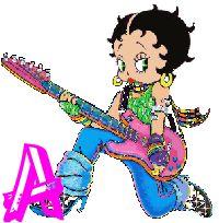 Alfabeto animado de Betty Boop tocando la guitarra.