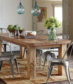 slab table top or something raw & natural looking, teamed with industrial style chairs like Tolix chairs.and low hanging feature light Rustic Table, Farmhouse Table, Reclaimed Wood Dining Table, Rustic Farmhouse, Wood Table Rustic, Rustic Kitchen Tables, Timber Table, Wood Tables, Dinning Room Tables