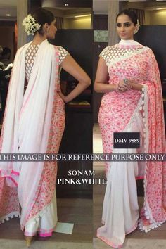 Utsav saree, Sonam Kapoor Pink faux georgette saree,   now in shop. Andaaz Fashion brings latest designer ethnic wear collection in UK  http://www.andaazfashion.co.uk/bollywood-sarees-online/sonam-kapoor-pink-faux-georgette-saree-with-raw-silk-blouse-dmv9889.html