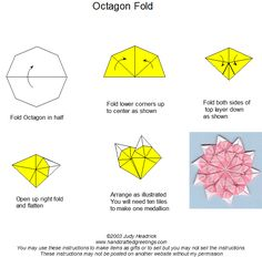 Tea bag folding instruction for octagon tile