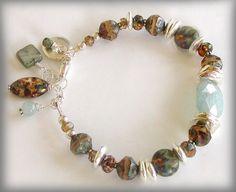 Artisan Glass Bracelet with Aquamarine by jQjewelrydesigns, $49.00