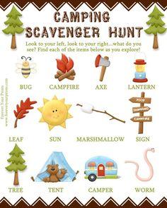 Camping Scavenger Hunt FREE DOWNLOAD