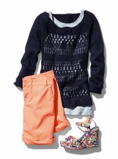 open knit textured sweater and boyfriend shorts from Gap Gap, Sweater And Shorts, New Wardrobe, Spring Summer Fashion, What To Wear, Style Me, Cute Outfits, Style Inspiration, Fashion Outfits
