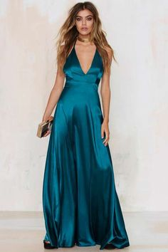 Grand Entrance Satin Maxi Dress