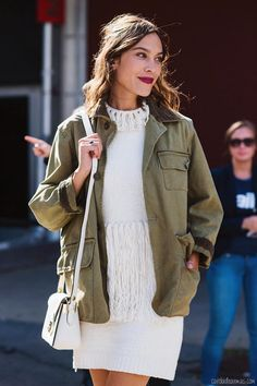 ivory knits with army green
