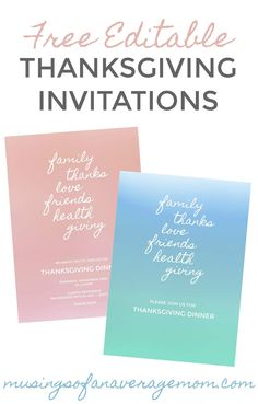Free editable watercolor Thanksgiving invitations - available in 3 different colours! Holiday Activities, Holiday Crafts, Thanksgiving Invitation, Money Saving Mom, Best Blogs, Ways To Save Money, Inspire Me, Rsvp, Free Printables