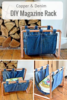 By upcycling a pair of old jeans and some copper piping, you can make this on-trend denim and copper DIY magazine rack.  Full step by step tutorial.