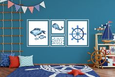 Blue Whale Watercolor Wall Art Print Set of 4 Navy Blue Nautical Printable Art Prints| Perfect for Boy Nautical Nursery Wall Decor  Use coupon code PIN50 for 50% off your #MetanoiaPrints Nautical Printables Purchase.  #couponcode #makingmetanoia #metanoiamindset