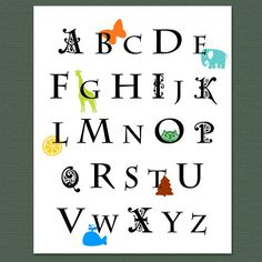 Alphabet with animals  wall art by archsehgal on Etsy