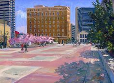 """""""Spring Day at Legislative Plaza"""" - oil, in Nashville Paintings and Drawings"""