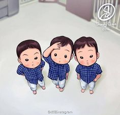 Song triplets famous photo by Song Appa 📷 You will see this one on the book with other new fanarts~ Currently I'm still processing/packing the books to the Reps. Triplet Babies, Superman Kids, Man Se, Song Daehan, Song Triplets, Famous Photos, Cutest Thing Ever, Kids And Parenting, Sailor Moon