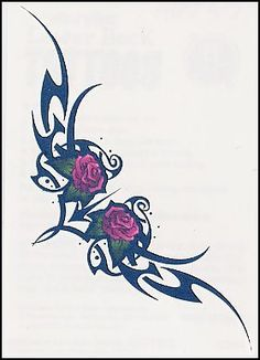 """Tribal Red Roses Temporaray Tattoo by Tattoo Fun. $4.95. This is a beautiful yet simple temporary tattoo. The roses are a pretty and simple. The red gives just enough pop of color against the black of the tribal design. The 4 1/2"""" X 1"""" design is perfect for lower back placement. You can also wear it as an armbabd to make it a little more unique."""