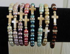 Sideways Cross Mother of Pearl Bracelet by beadedblisscreations, $12.00