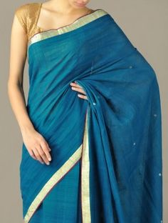 Blue Spot Dobby Border Khadi Cotton Saree