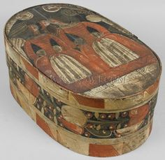 """A great example of a centuries old Northern European tradition! Brides boxes were a traditional gift a groom would make or have made to present to his bride for her most special possessions, such as her headdress and other small items from her trousseau. The boxes also were known to be part of a bride's dowry. Always colorful the decoration on the box we are offering is especially nice.  Dimensions: 18.5"""" L by 7.5"""" H."""