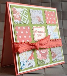 Cute 3x3 card with Ciao Baby, Tea for Two dsp, & Petite Curly Label Punch.