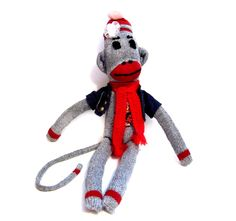 Sock Monkey Toy, Handmade Doll