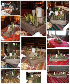 Rustic planter centerpieces