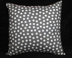 Gray and white polka dotted pillow cover