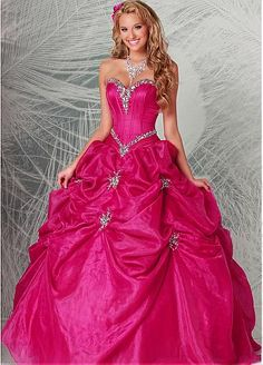 Charming Organza & Satin Sweetheart Neckline Floor-length Ball Gown Quinceanera Dress