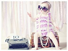 One year old photos Fabulous vintage baby with pearls, romper, and sunglasses! Isn't 5ohBaby just beautiful?  My little girl will do this!!  If I have one...