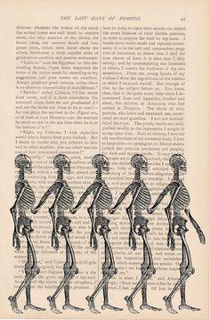 Halloween skeleton decor dictionary art vintage SKELETONS in a LINE print - vintage art book page print - skull halloween decorations