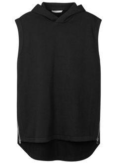 Givenchy blackcotton sweatshirt Hood, zipped sides, woven trims, longer back hem Slips on 100% cotton; trim: 98% cotton, 2% elastane