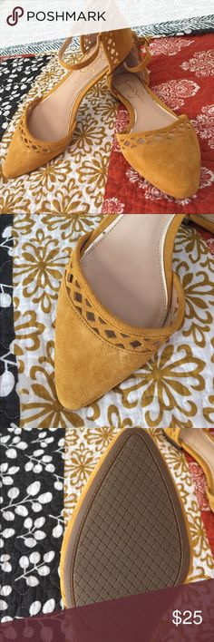 One day sale!!!Jessica Simpson Ankle Strap Flats Cute mustard color - great for fall. This is a soft faux suede to class up any look 💅. Ankle strap and pointed toe. Never worn. Jessica Simpson Shoes Flats & Loafers