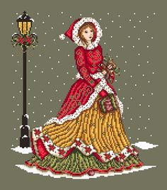 In this cross stitch pattern, this elegant lady strolls the Victorian  streets on her way to a Christmas party. A wrapped gift in one hand and a  timeless teddy bear in the other are small details of this cross stitch  pattern that will bring this design together.  This design uses both Kreinik #4 braid and beads for added sparkle and  bling for the Christmas season. It measures 134w by 153h. The chart is a  black and white symbol chart with coloured back stitching lines, French  knots and…