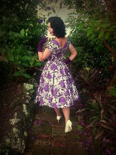 The Beautiful Miss Victory Violet in our Wild Rose purple Grace Dress. http://www.vivienofholloway.com/ #VivienofHolloway #VivienHolloway #VoH #Vintagereproduction #madeinlondon #1950sstyle #1950sfashion #1950s #1950sglamour #pinupgirl #pinup #rockabilly #rockabillygirl #rockabillyclothing #pinupfashion
