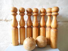Antique Wooden Skittles Game Nursery Decor 7 by Birdycoconut