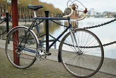 blue and silver bike