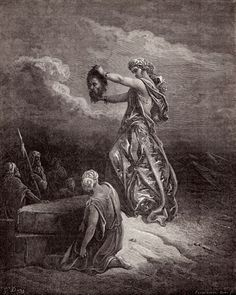 """Gustave Dore Judith Showing the Head of Holofernes (illustration of the """"Book of Judith"""")."""