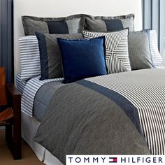@Overstock.com - Tommy Hilfiger Country Chic 3-piece Cotton Comforter Set - The Tommy Hilfiger Country Chic Cotton Comforter Set features a charcoal and white stripe print. The machine washable set includes at least one matching cotton sham.  http://www.overstock.com/Bedding-Bath/Tommy-Hilfiger-Country-Chic-3-piece-Cotton-Comforter-Set/8266943/product.html?CID=214117 $116.99