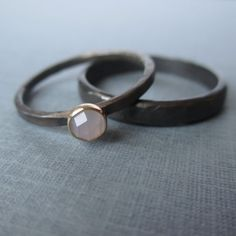Ring Set.  Sterling Silver and 14k Gold. Lavender by LunasaDesigns