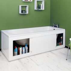 Croydex Unfold N Fit White Bath Panel & Lockable Storage - Side - Bath Panel, Storage Spaces, Bath Storage, White Storage, Storage Hacks, Bath Side Panel, Lockable Storage, Storage, Bathroom Design