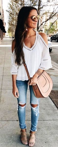 summer outfits White Cold Shoulder Top + Destroyed Skinny Jeans