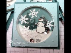 November 2014 Flowerbug's Inkspot: White Christmas Shaker finished size is 2 square Video Christmas Paper Crafts, Homemade Christmas Cards, Christmas Cards To Make, Xmas Cards, Homemade Cards, Holiday Cards, Christmas Projects, Snowman Cards, Card Making Techniques