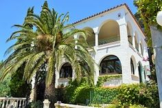 Urlaub, Spanien, Palme, Haus, Himmel