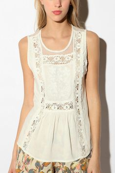 Maust Tank Top -love the lace insertions, would this work in something I would wear? a t-shirt?