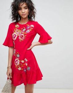 ASOS DESIGN embroidered mini skater dress