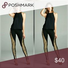 COMING SOON BLACK PANT LEGGINGS FRONT LINE SEQUIN  BEAUTIFUL UNIQUE PAIR,ONE OF A KIND angelochekk boutique  Pants Leggings