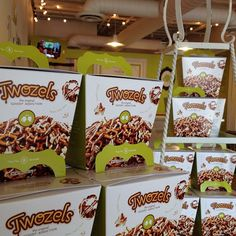 """""""THEY'RE HERE"""".... All new Twozels packaging, the original 'goody' addiction, now available Goodytwos toffee shop!"""