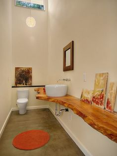 love wood counter - The Orchard - eclectic - bathroom - seattle - Fivedot Design Build Wooden Countertops, Bathroom Countertops, Countertop Decor, Quartzite Countertops, Eclectic Bathroom, Bathroom Interior, Wood Bathroom, Small Bathroom, Bathroom Ideas