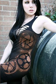 Steampunk Post Apocalyptic Goth Industrial Zombie Mini Bodycon Dress Shredded Woven Deconstructed. $40.00, via Etsy.