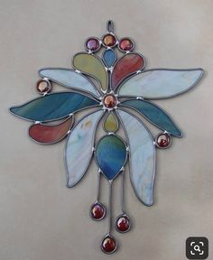 Quick to make, with lead instead of copper foil. Stained Glass Ornaments, Stained Glass Suncatchers, Stained Glass Flowers, Stained Glass Designs, Stained Glass Panels, Stained Glass Projects, Fused Glass Art, Stained Glass Patterns, Leaded Glass