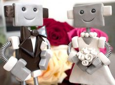 Custom Robot Wedding Cake Topper  MADE TO ORDER Robot and Bride Groom - Clay and Wire via Etsy